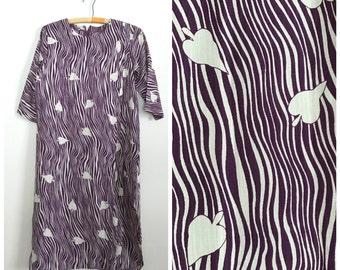1960s handmade purple spade stripe sheer dress