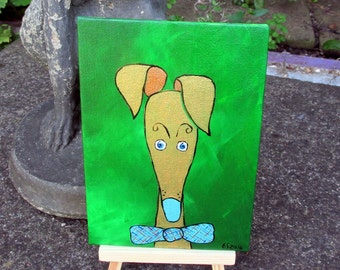 "Greyhound galgo original acrylic painting ""Golden Boy"" silly old greyhound 5x7 canvas panel (5 GBP donation)"