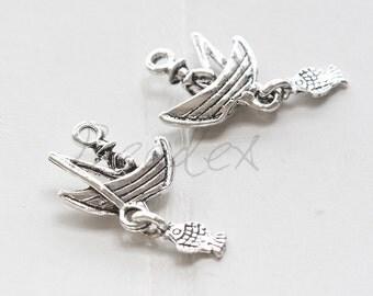 10 Pieces / Fishing Boat / Oxidized Silver Tone / Base Metal / Charm (X7214//H403)
