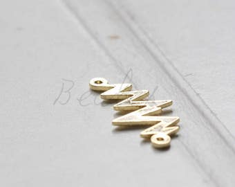 2 Pieces / Gold Plated / Real Gold / Z / Link / Brass Base 21.9x11.3mm (C1728//I415)