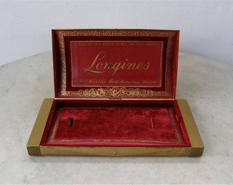 LONGINES WATCH CASE Brushed Brass w/ Red Velvet & Leather Interior Gold Trim 10 World's Fair Grand Prizes 28 Gold Medals Vintage 1920-40's