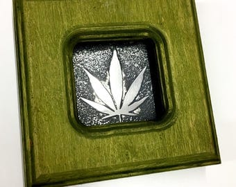 Weed - Etched Stainless Wall art - Handmade, Frame and All