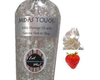 Midas Touch™ Edible Gold & Silver Massage Oil - Strawberry 'n' Cream Natural Vegan, water based, 24k Gold 999 Silver