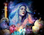 "Original Art, ""Bury Me in the Stars"" by Kamille Freske, Goddess painting, pagan art, goddess art, wiccan art, wicca, fantasy art, altar art"