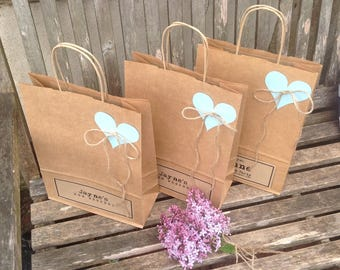 Wedding favour bags LARGE A4 personalised kraft paper gift bags for wedding favours with Heart and natural jute