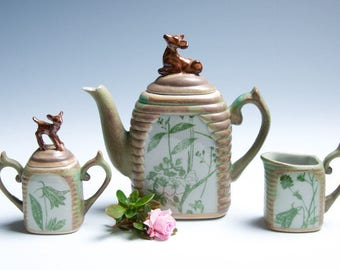 Porcelain Ceramic Tea Set / Green and Brown Deer / Floral Motif