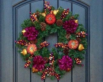 Fall Wreath-Thanksgiving Wreath-Halloween-Pine Door Wreath-Purple Florals-Orange Glitter Pumpkins-Berries-PineCones- Orange Ornaments