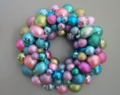 EASTER Wreath PASTEL Wreath Ornament Wreath--Multi-colored with EGGS