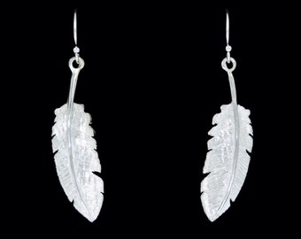 Sterling Silver Feather Dangle Earrings or Drop Earrings