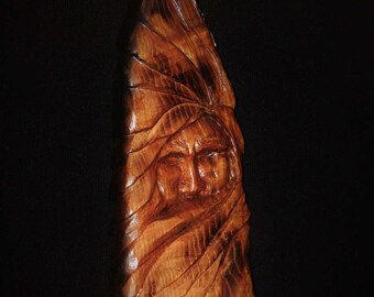 Spirit Face Carving - Wood Carving - Hand Carved - OOAK