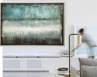 """64"""" large  painting   blue  brown abstract  painting  nice acrylic painting from jolina anthony"""