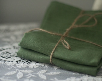 Linen Tea Towels - Linen Hand Towels - Guest Towels - Dish Towels - Green Linen - Eco Friendly Linen Towel - Set of Two