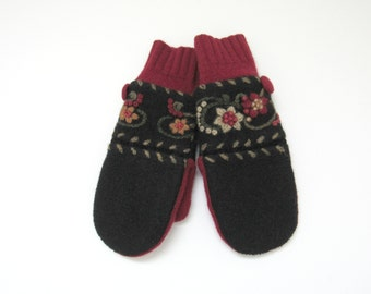 Felted Wool Mittens Fleece Lined Red Beige Olive Green and Black Embroidered Floral Mittens Felted Wool Sweater Mittens