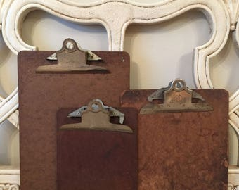 3 Vintage Clipboards - Small, Medium and Large - Retro Office or Great for Art Display