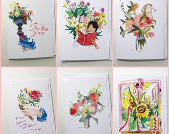 Set of 6 Flower cards, 5x7 card, Ready to Ship greeting cards