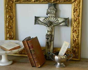 Antique Metal Crucifix. Religious Cross. Catholic. Home Decor.
