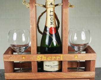 Personalized Wine Holder Wedding Gift,Wine Glass Holder,Personalized Wine Glass Holder,Customized Wine Glass Holder,Rustic Wine Holder,Caddy