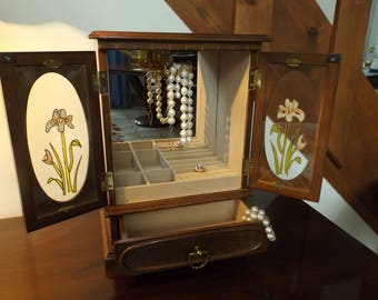 Large Music Jewelry box shape cabinet, the mirror inside, two glass doors home decor.jewelry organizer. Roomy Large jewelry box. Gift idea