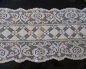 Vintage Ecru Table Runner Scarf Mantle Scarves Handmade Cotton Bureau Dresser Scarf Cottage Chic Decor YourFineHouse SHIPSWORLDWIDE