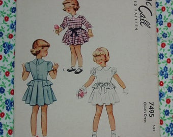 Vintage Pattern c.1948 McCall No.7495 Girls Dress, Size 6