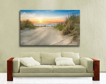 Extra Large Seascape Canvas Wrap, Sunrise over Hereford Inlet in Wildwood New Jersey, Photography on Canvas, Ready to Hang Wall Art