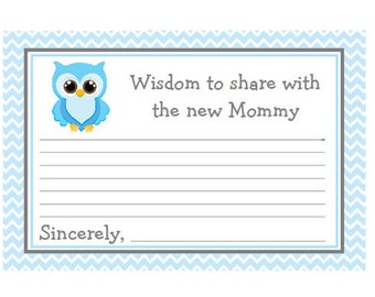 Baby Shower Mommy Advice Cards Blue Chevron with Owl  Words of Wisdom Instant Download