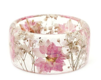 Pink Flower Jewelry- Real Flower Jewelry- Pink Bracelet- White Flower Jewelry- Resin Jewelry- Flower Bangle- Flower Resin Bracelet
