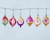 Lot of 6 Hand Painted Indented Teardrops Vintage Christmas Glass Ornaments
