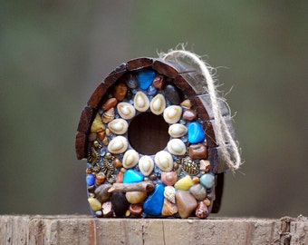 Sparrow Birdhouse with sea shells, Turquoise Blues, turtle, sea horses and Ocean Accents Sun Kissed Mosaic birdhouse tree tropical theme