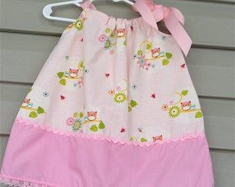 Sweet Owl Print Pillow Case Baby Dress  - Toddler Dress