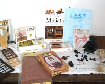 Vintage Miniature Dollhouse Furniture/Hardware/Accessories/The House of Miniatures/ Cast Iron Stove/Tea Cart/Telephone/Chair