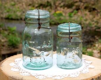 2 Vintage ATLAS E-Z Seal Aqua Jars w/ Glass Lids w/ Metal Bail Closure ~ Farmhouse ~ Cottage ~ Collectible ~ Insurance w/ Shipping