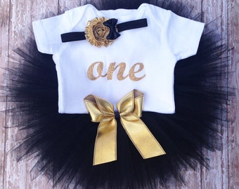 Black and Gold Birthday Tutu Outfit,  Matching Headband | Glittery Gold ONE Bodysuit Top |Birthday Photo Prop, Party Dress