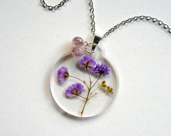 Purple Gypsophila - Real Flower Garden Necklace - botanical jewelry, pressed flowers, babys breath, fluorite, flower necklace, natural, ooak