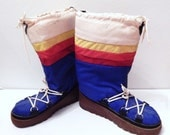 Vintage Boots - Rainbow Boots - Moon Boots - Snowmaster - 1970s Ski Wear - Size 8 Boots - Womens 8 Boots