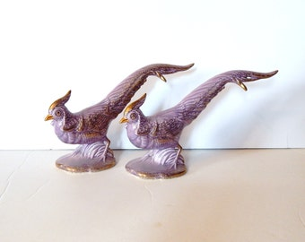 Vintage Ceramic Bird - Ceramic Pheasant Figurines - Lavender Purple Bird