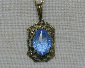 Art Deco Necklace, Filigree Silver & Periwinkle Blue Glass Marquise shaped Stone. Vermeil, Gold Filled