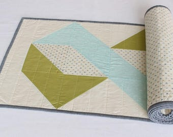 Blue Quilted Table Runner, Reversible Green Table Topper