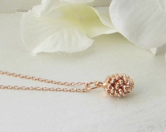 Rose Gold Necklace. Pine Cone Necklace. Bridesmaid Gift. Bridesmaid Jewelry. Dainty Pinecone Necklace. Rose Gold Jewelry. Mothers Day Gift