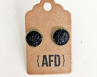 Black faux druzy earrings | small sized