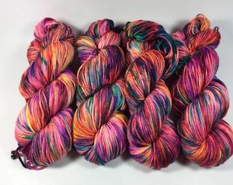Merino Superwash Worsted, Hand Dyed Yarn, Haute Shot, Superwash merino, worsted weight, multicolored yarn