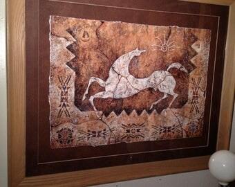Vintage Tlaloc's Cecilia Henle Framed Print Cave Art Horse Southwestern Snow Shadow