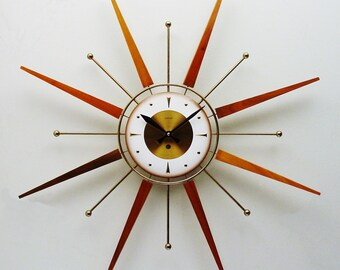 Starburst Clock by Welby, Atomic Era Sunburst Clock