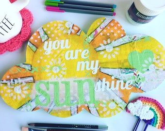 You are my sunshine wood sign ~ light green color ~ mixed media art ~ wood signs ~ nursery decor ~ kids room ~
