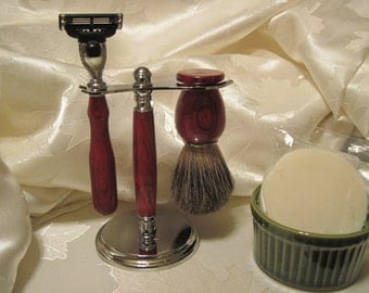Shaving Set Deluxe Custom Hand turned Cocobolo with shaving stand and Gillette Mach 3 razor handle