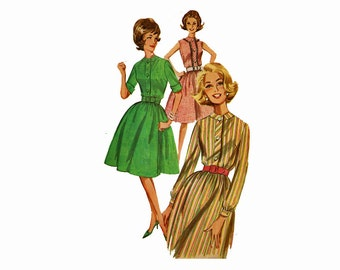 1960s Size 12 Bust 33 Misses Full Skirted Dress 60s Shirtdress Size 12 Bust 32 Uncut Vintage Sewing Pattern Full Skirt day dress