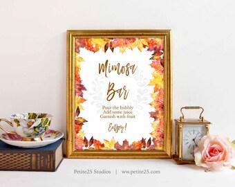 Autumn Leaves Shower sign, Mimosa Bar Sign, Orange Yellow Brown Maple leaves, Classic Elegant Wedding, Printable Digital