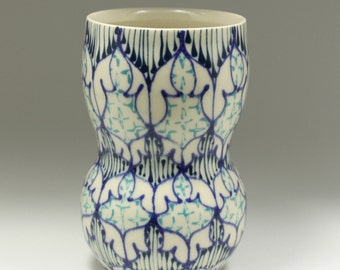 Handmade Wheel Thrown Ceramic Vase with Heather, Navy and Turquoise Pattern