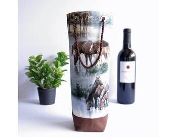 Bottle Gift Tote - Horses / Brown Canvas - Wine, Whiskey, Craft Beer, 750ml Bottle Bag