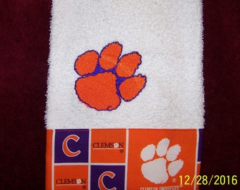 Machine embroidered hand towel with sport logo